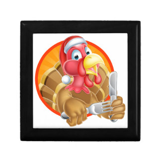 Turkey Bird in Santa Hat Holding Knife and Fork Small Square Gift Box