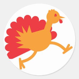 Turkey bird on the run! round sticker