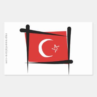Turkey Brush Flag Rectangular Sticker