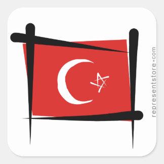 Turkey Brush Flag Square Sticker