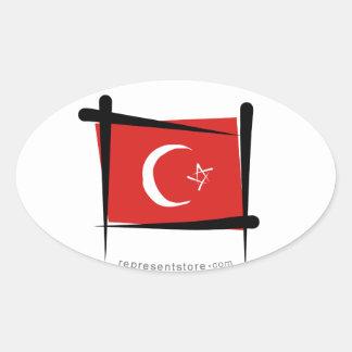 Turkey Brush Flag Oval Sticker