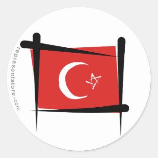 Turkey Brush Flag Round Sticker