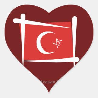 Turkey Brush Flag Heart Sticker
