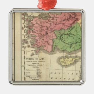 Turkey Chronological Map Silver-Colored Square Decoration