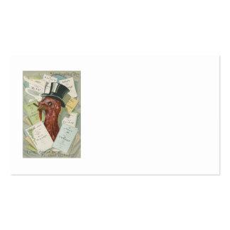 Turkey Cigar Top Hat Thanksgiving Menu Pack Of Standard Business Cards
