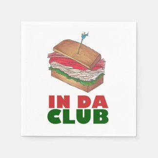 Turkey Club Sandwich IN DA CLUB Funny Foodie Deli Paper Napkin