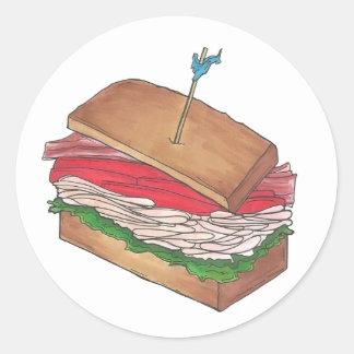 Turkey Club Sandwich Restaurant Diner Foodie Gift Classic Round Sticker