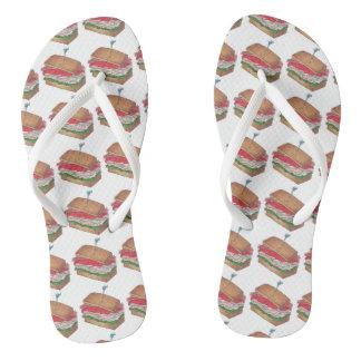 Turkey Club Sandwiches Sandwich Print Diner Food Flip Flops