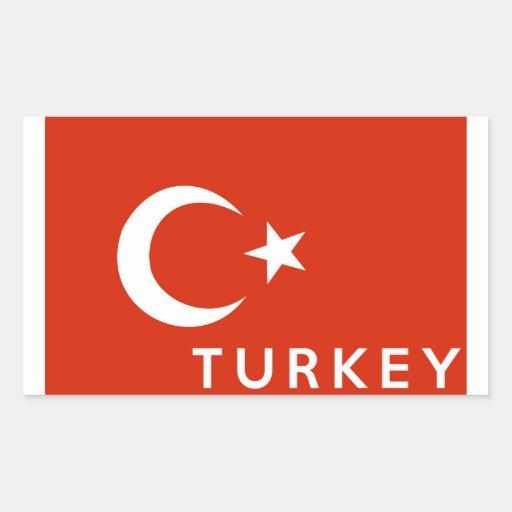 turkey country flag symbol name text rectangular sticker