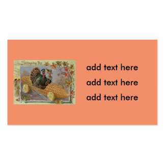 Turkey Couple Corn Car Fall Leaves Pack Of Standard Business Cards