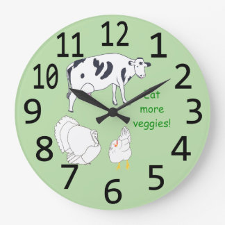 Turkey Cow Chicken Eat more Veggies Wall Clocks