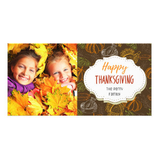 Turkey Dinner Thanksgiving Picture Photo Card
