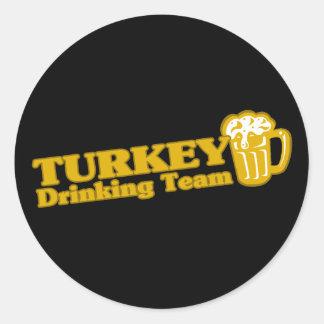 Turkey Drinking Team Round Stickers