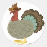 Turkey Fall Leaf Autumn Acorn Thanksgiving Round Sticker