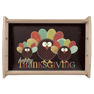 Turkey Family Patchwork Thanksgiving Serving Tray