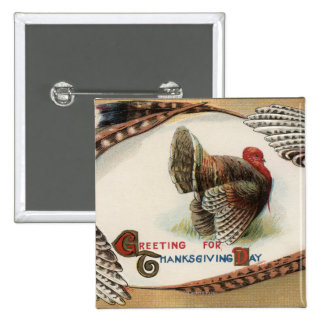 Turkey Feathers 15 Cm Square Badge