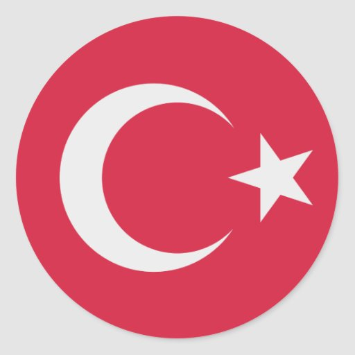 Turkey flag circle stickers
