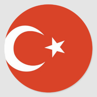 Turkey flag classic round sticker