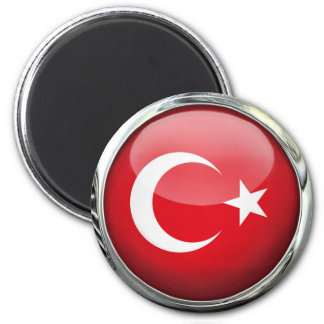 Turkey Flag Glass Ball 6 Cm Round Magnet