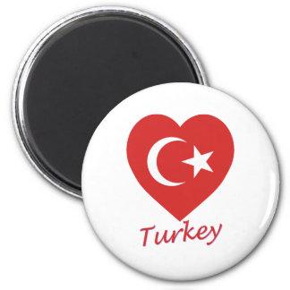 Turkey Flag Heart 6 Cm Round Magnet