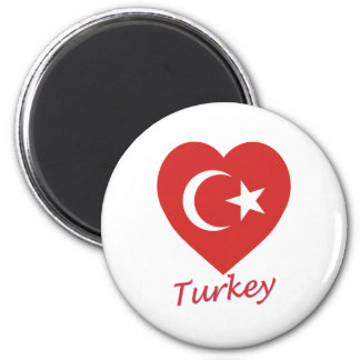 Turkey Flag Heart Magnet