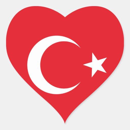 Turkey Flag Heart Sticker