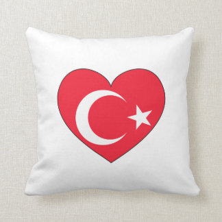 Turkey Flag Heart Throw Pillow