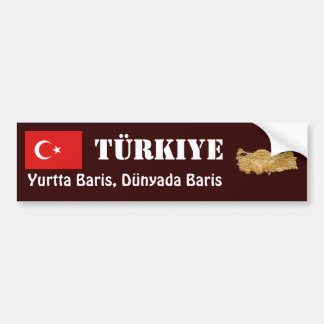 Turkey Flag + Map Bumper Sticker
