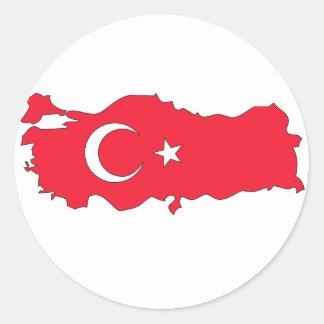 Turkey flag map classic round sticker