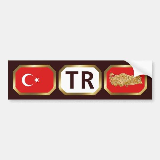 Turkey Flag Map Code Bumper Sticker