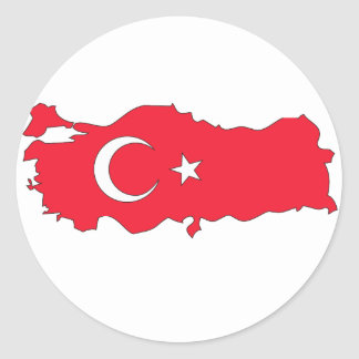 Turkey flag map round sticker