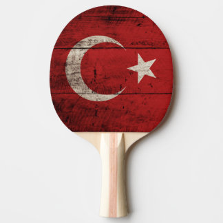 Turkey Flag on Old Wood Grain Ping Pong Paddle