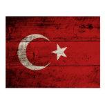Turkey Flag on Old Wood Grain Postcard