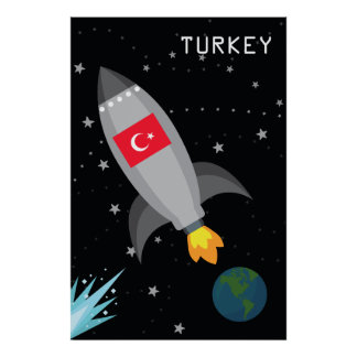 Turkey Flag Rocket Ship Poster