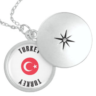 Turkey Flag Wheel Locket Necklace