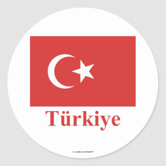 Turkey Flag with Name in Turkish Classic Round Sticker