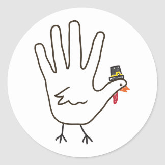 turkey hand round sticker