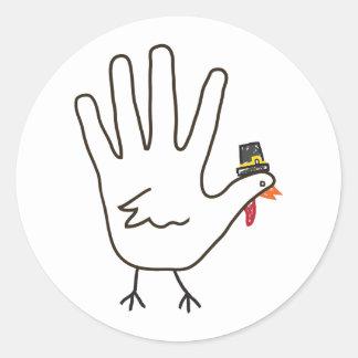turkey hand round stickers