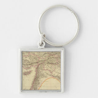 Turkey in Asia 3 Silver-Colored Square Key Ring