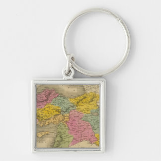 Turkey in Asia 4 Silver-Colored Square Key Ring