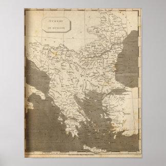 Turkey in Europe Map by Arrowsmith Poster