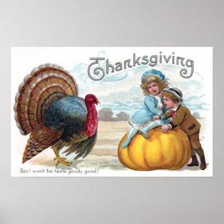 Turkey, Kids and Big Pumpkin Vintage Thanksgiving Poster