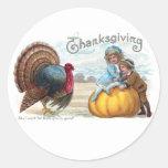 Turkey, Kids and Big Pumpkin Vintage Thanksgiving Round Stickers