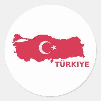 Turkey map flag Türkiye Round Sticker