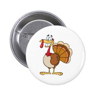 Turkey Mascot Cartoon Character 6 Cm Round Badge