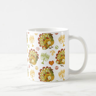 Turkey Menorah Pattern Thanksgiving Hanukkah Coffee Mug