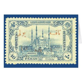 turkey ottoman empire stamp vintage - blue & white card