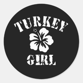 Turkey Pink Girl Round Sticker