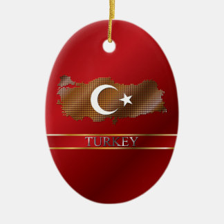 Turkey Pixel Map and Turkish Flag Christmas Ornament