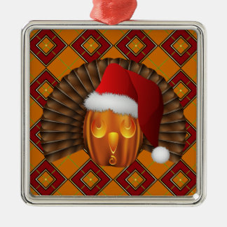 Turkey Pumpkin Santa on Argyle Hallowgivingmas Silver-Colored Square Decoration